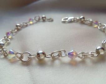"Sterlings Silver Bracelet 18 cm Sterling Silver Delicate Elegant Woman Woman Silver925 and Swarovski Crystal AB ""CRYSTALSWAROVSKI"""