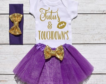 Tutu's and Touchdown's. Girls Football Tutu Outfit. Football Outfit. T19 FBL (PURPLE)
