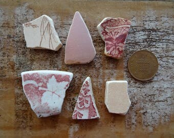 PINK PATTERNED SEA Pottery ~ Sea Tumbled Treasure ~ Beach Combed Pieces ~ Art Supplies ~ Mosaic Tiles ~ Found Treasure ~ Lucky Charms