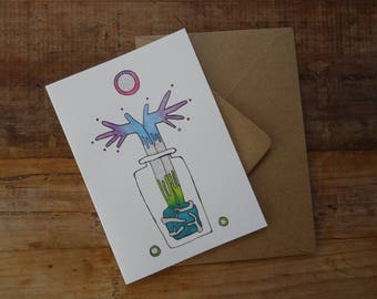 UNIQUE CELEBRATION CARD ~ Announcement Greetings Card ~ Quirky Hands Illustration ~ Spiritual Birthday Card ~ Yoga Lover Gift