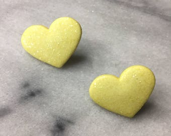 Yellow sparkly heart earrings