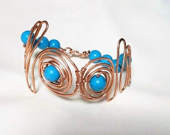 Copper and stabilized hammered Sprial /free form Bracelet