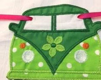 Flower Power Camper an BUNTING hand made, machine embroidered - made to order