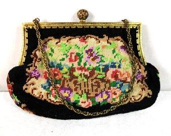 Vintage embroidered purse, petit point tapestry, evening handbag Vintage Elegant Floral Purse