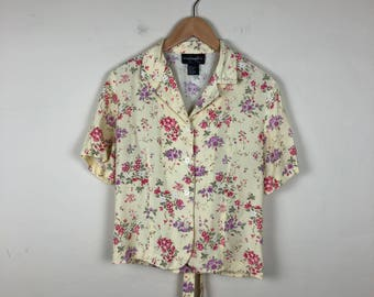 Vintage Floral Blouse Size Medium, Pastel Yellow Blouse