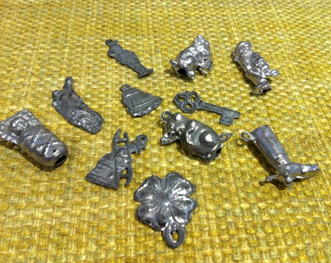 Antique lead figures pewter figures Molybdomancy new year's Eve collector objects figures