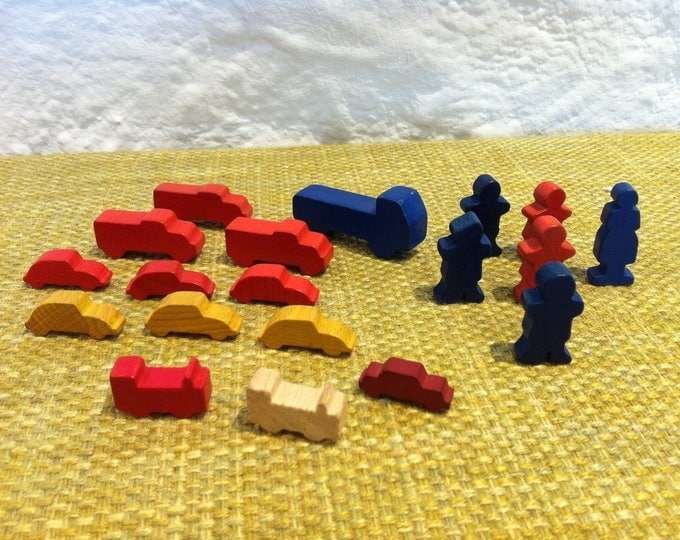 Vintage Miniature 19 pieces Wooden toys hand carved Wood Carved