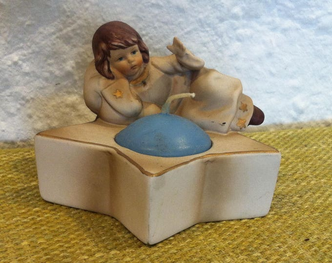 Vintage ceramic Angel Putti Putto Star candle holder decoration