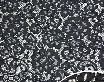 Black Flower Eyelash Lace Fabric Lace Trim 59.05 Inches Wide 1.25 Yards/ Craft Supplies, WL1467