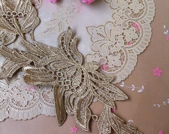1 Pair Embroidery Lace Applique DIY Trim Appliques in Gold for   Sashes, Veils, Headpieces, WL1771