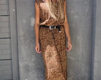Vintage 80s Leopard Print Maxi Dress