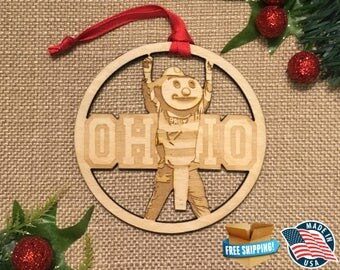 Ohio State Ornament *** Buckeye ornament *** OSU Ornament *** OH-IO *** Columbus