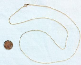 "Estate 14kt Yellow Gold Link Chain Necklace 24"" Long 1.7g Marked 14K Genuine Solid 14 k kt Vintage 1 mm wide Statement Links Chains Longer"