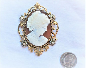 "Estate 14K HEAVY Yellow Gold Carved Shell Genuine Diamond Cameo Pendant Convertible Brooch Pin 14.7g Victorian 2-3/8"" Marked 14 k kt 14kt"