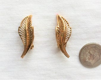 Estate 14k HEAVY Yellow Gold Genuine Clip On Clipon Earrings 6.1g Marked 14 K kt 14kt Vintage Open Leaf Large Statement Comfortable
