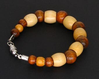Wood Beaded Bracelet with Magnetic Clasp