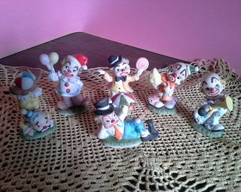 Six Lefton clown figurines