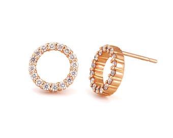 14k gold diamond circle stud earrings