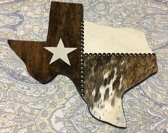Cowhide Texas Flag