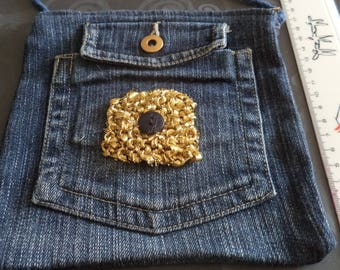 shoulder bag denim with a gold plated 3 new pockets
