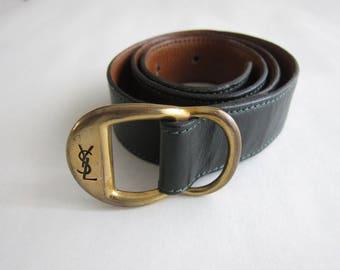 Yves Saint Laurent (YSL) 1980's dark green leather belt.