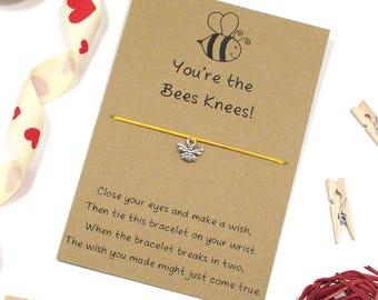 you're the bees knees, wish bracelet, friendship bracelet, bumble bee wish bracelet, cord bracelet, charm bracelet, good friend jewellery