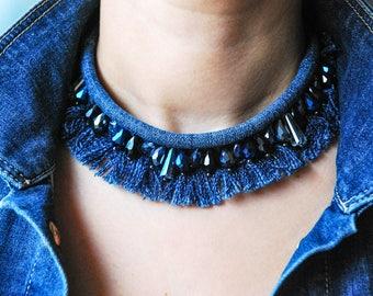 Denim Necklace/ Denim Bib Necklace/ Glass Beads Necklace/ Blue Necklace/ Fringe Necklace/ Denim Fringe Necklace/ Denim Tassel Necklace