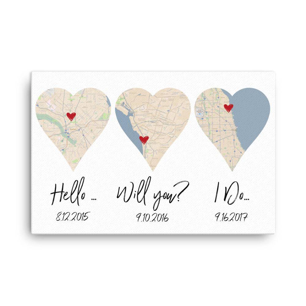 I Do Wedding Gifts: Hello Will You I Do Art Print 1st Anniversary Wedding