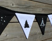 Bunting teepee, cactus, stars, moon, black and white, for decorating a child's room or a party.