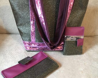 Diaper bag black faux leather with purple sequin and glitter