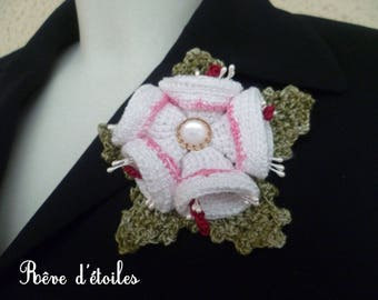 Cotton green and white bells brooch