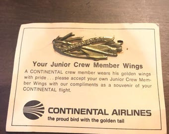 Vintage Continental Airlines Wings Pins - Continental Airline Junior Crew Member Wings - Continental Air Pin - Airline Wing Pin