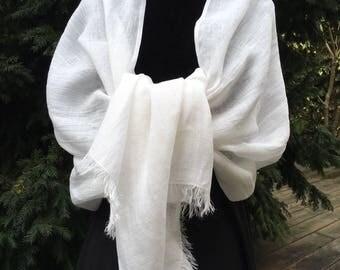 GRANDE ÉTOLE 100% LIN lavé et frangé, 75cm X 200 cm, coloris Blanc