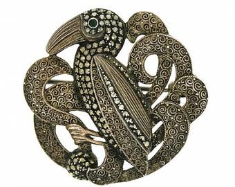 Theodor Fahrner 1930s Silver Marcasite & Filigree Vintage Bird Brooch