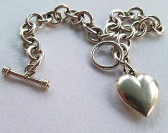 Vintage 1990's Sterling Silver 925 Heart Charm Toggle Bracelet