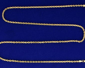 24 Inch Rope Style Neck Chain in 14k Gold