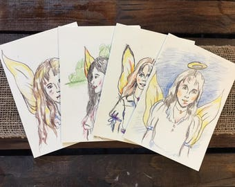 4 blank Angel greeting cards & envelopes