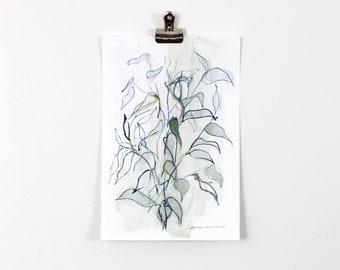 Green and Blue Blind Contour Botanical