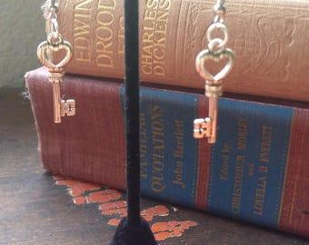 Silver Heart Key Earrings