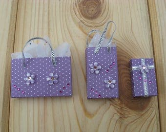 Set of 3 Pieces Miniature White Polka Dot and  Purple Gift Bag and Gift Box With Glittered Tissue Paper