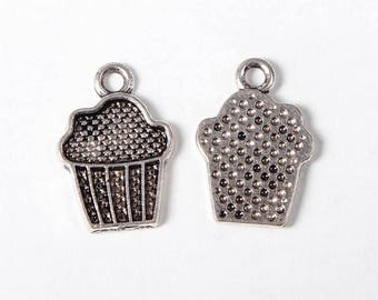 10 pc Antique Silver Cupcake Charms 16x11mm