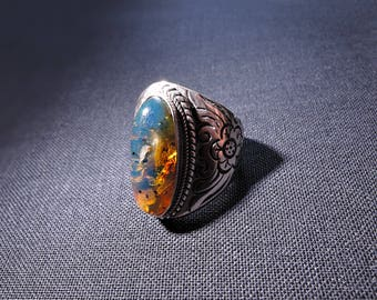 Vintage ring blue amber flowers 925 sterling silver 54-64'