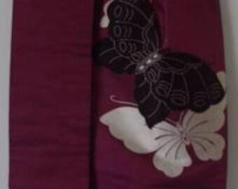 Genuine Japanese Kimono Obi - Purple with Butterfly Motif