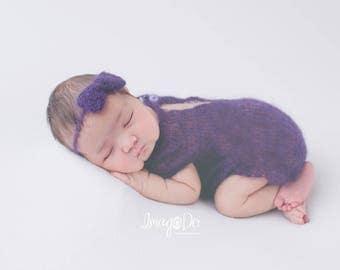Mohair hand knit, newborn romper, newborn romper prop, baby headband, newborn headband, baby romper, photo props, newborn prop, bow