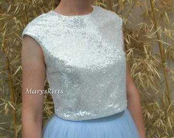 Short-sleeved Sequin Top/ Mermaid Top/ Crop Top (Milk)