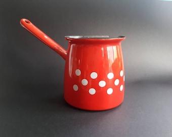 Bright Red Enamel Polka Dot Saucepan with Spout - Vintage Retro