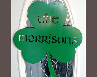 """St. Patrick""""s Day Shamrock Door Wall Hanging Personalized"""