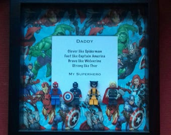 Dad's birthday my Daddy My superhero framed gift Fathers day for Dad Wolverine  Spiderman Thor captain America Avengers**immediate postage