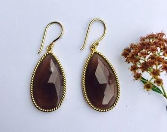 Smoky Quartz Earrings. Smoky Quartz Jewelry. Minimal Jewelry. Boho Style. Brown Earrings. Gold Earrings. Bridesmaid Gift. Pear Shape.