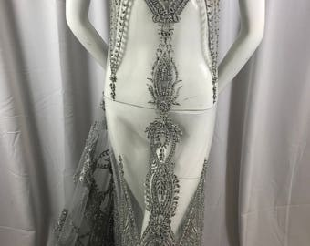 Embroidered Beaded Fabric - Silver Lace Heavy Beads By The Yard For Bridal Veil Flower Mesh Dress Top Wedding Decoration